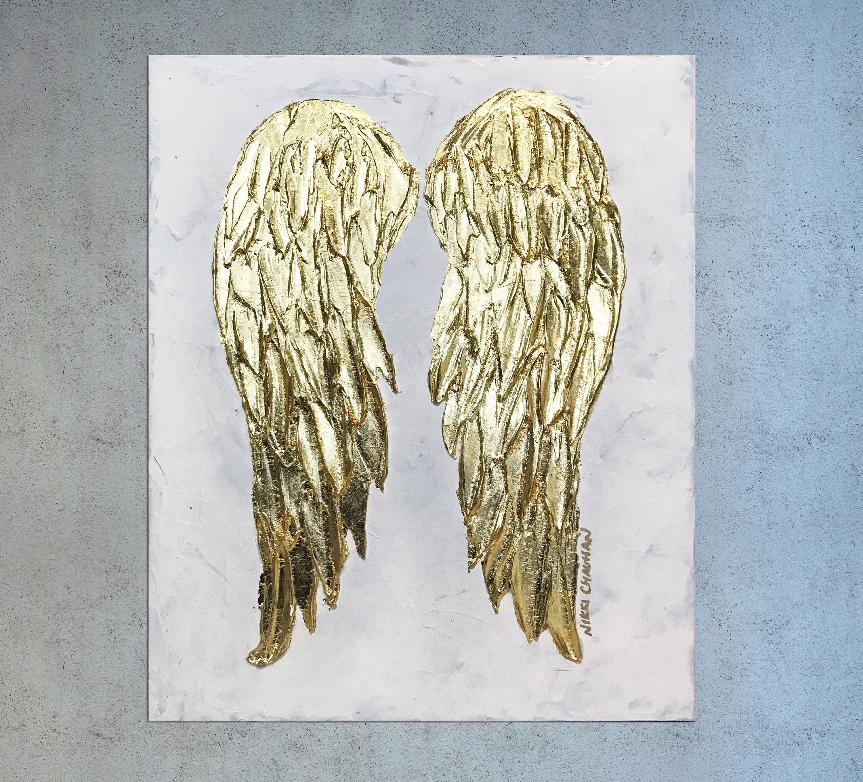 Angel Wings Painting On Canvas Gold Feather Chic Decor Etsy Angel Wings Painting Gold Leaf Art Angel Wings Wall Decor