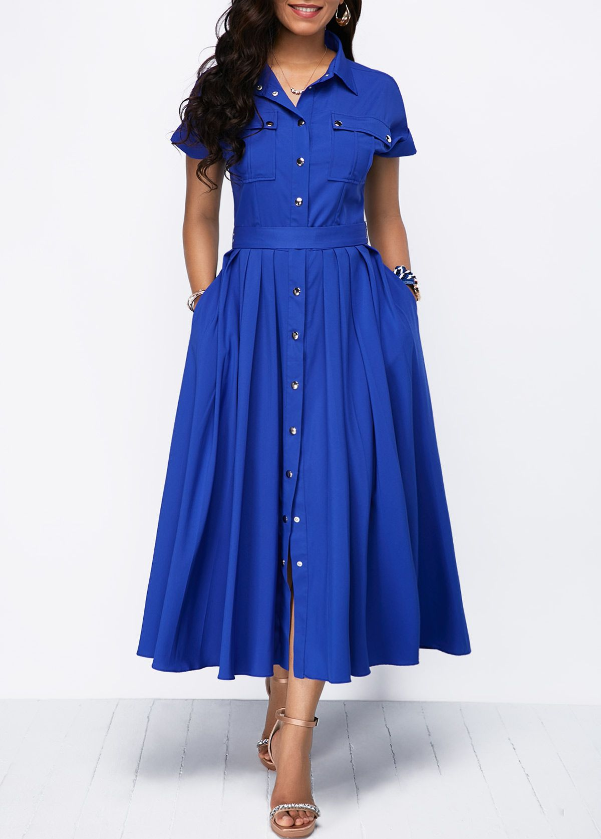 cd5b7f03788 Bowknot Back Pleated Royal Blue Button Front Dress