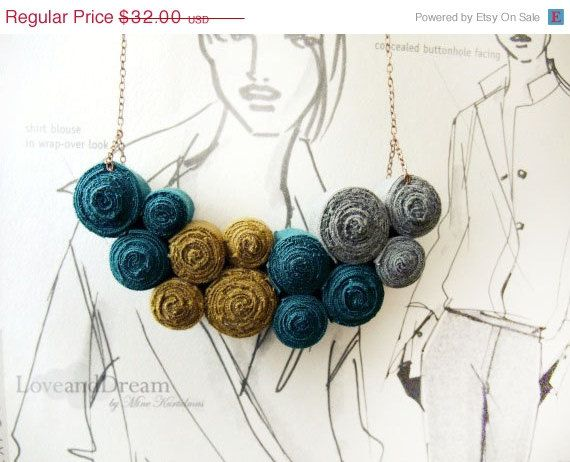 ON SALE Fibre Art Necklace by LoveandDream on Etsy, $27.20