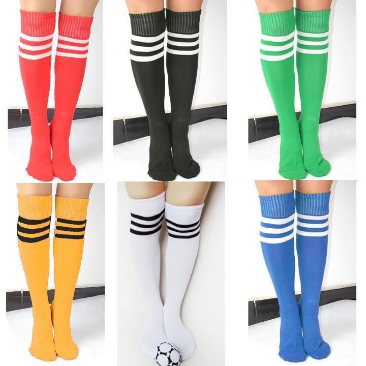 238ed5cd0 GIRLS LADIES 3 STRIPES REFEREE SOCKS STRIPED OVER THE KNEE THIGH HIGH LONG  SOCKS  Unbranded  KneeHigh