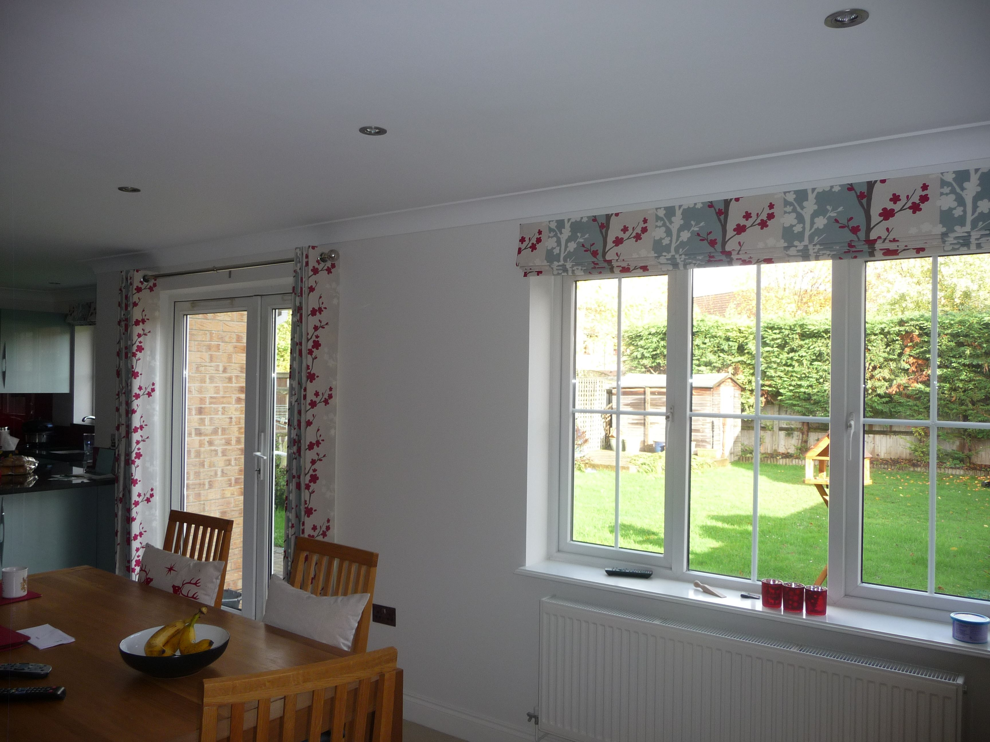 Lined curtains with eyelet heading & matching roman blind are the ...