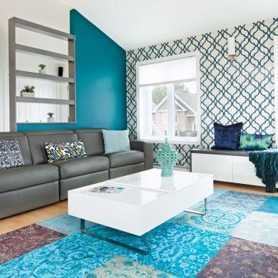 Déclinaison de bleus Salons - chambre bleu gris blanc