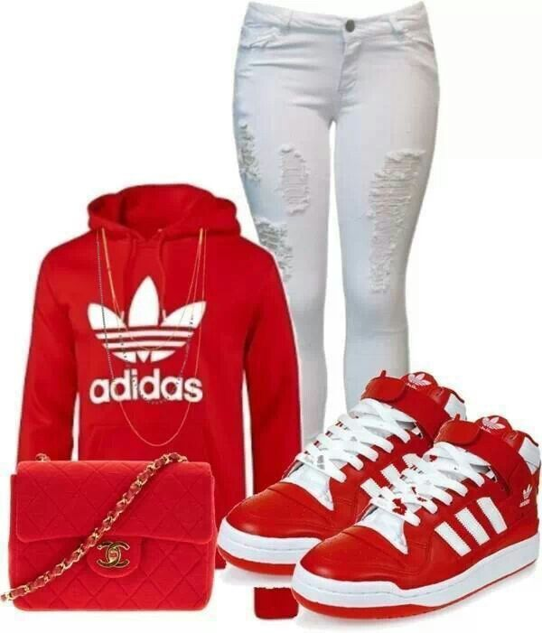 timeless design 39723 2795c Adidas red outfit, with Chanel bag that glams this look up and Adidas keep  it casual!