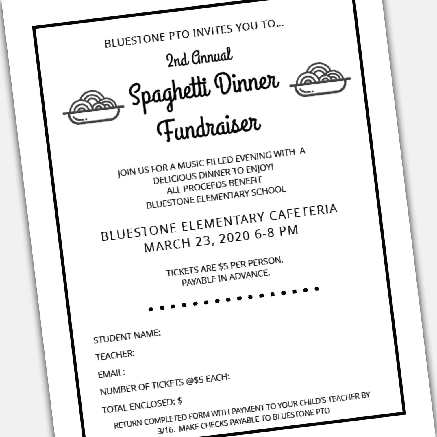 Spaghetti Dinner Fundraiser Event Flyer And Ticket Template Set