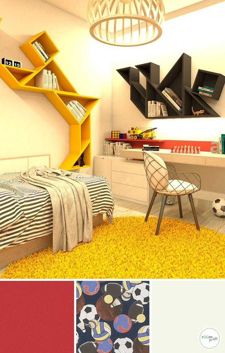 Fußball mal anders ein Jungenzimmer in schwarz rot gelb