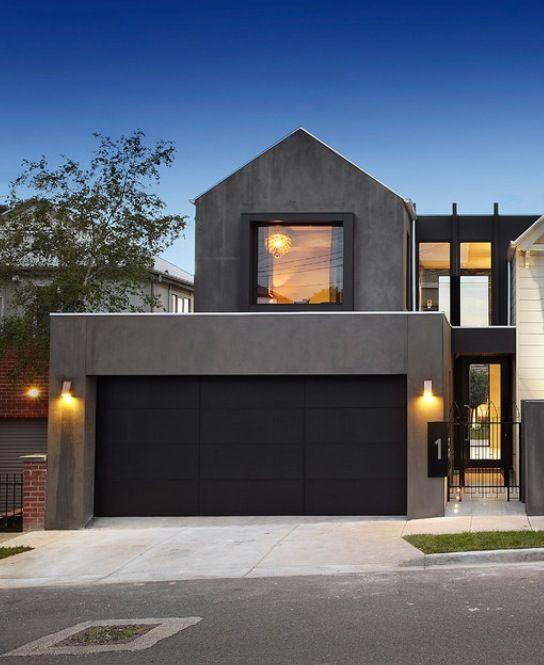Einfamilienhaus neubau mit doppelgarage modern  Black garage door … | Pinteres…
