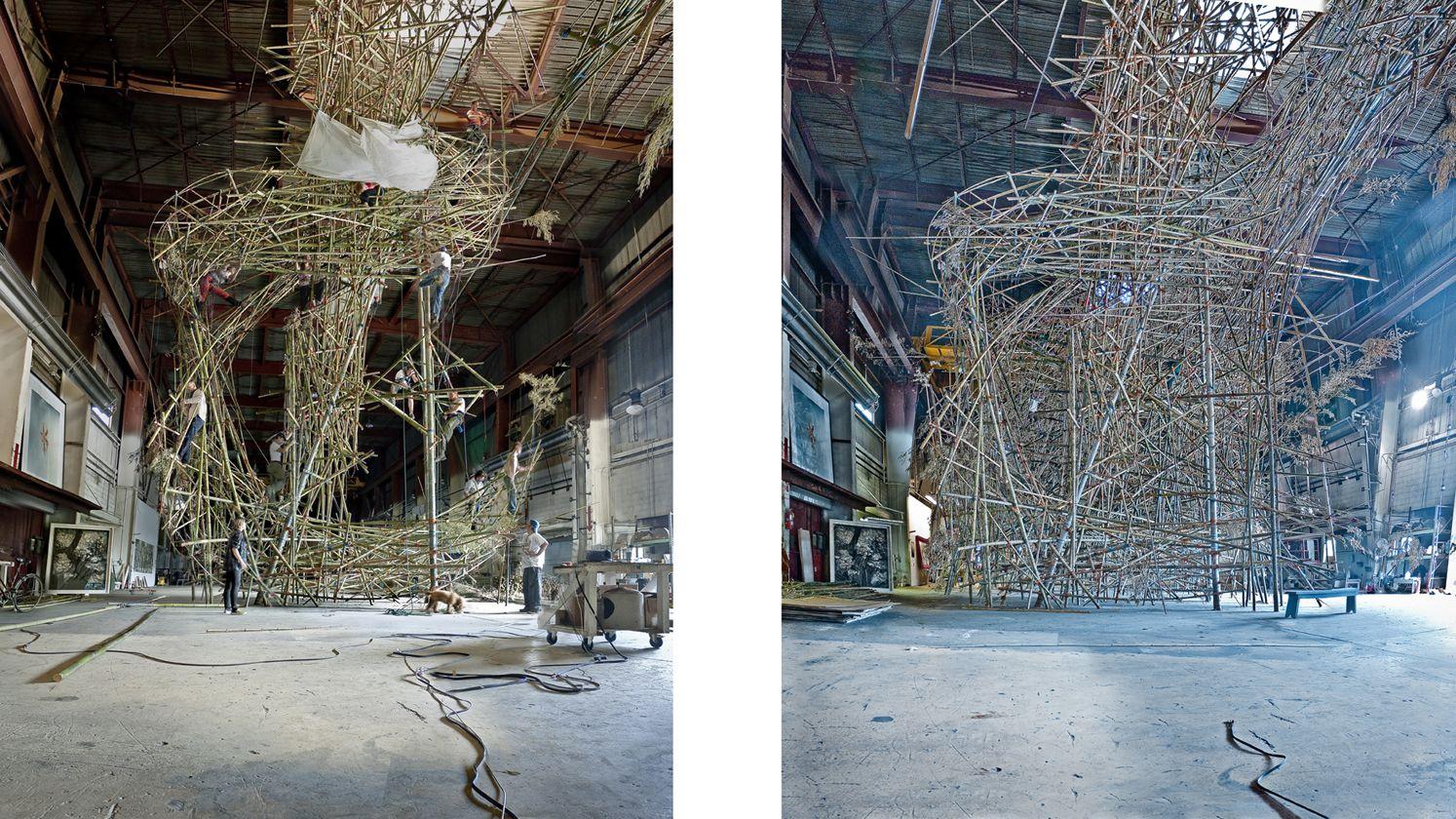 doug starn & mike starn - big bambu series, ny times t, and t plus 6 weeks, 2009
