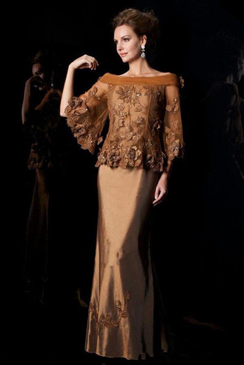 Mother of the bride dresses evening wedding  off shoulder ornate brown  Delta  Pinterest  Shoulder Brown and