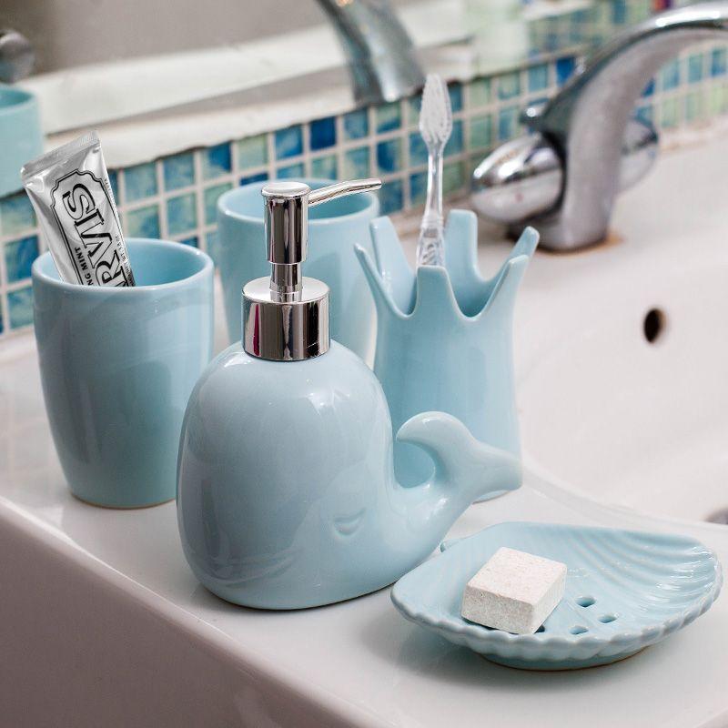 Bathroom Ceramic Four Pieces Set Whale Shape Wash Supplies Kit