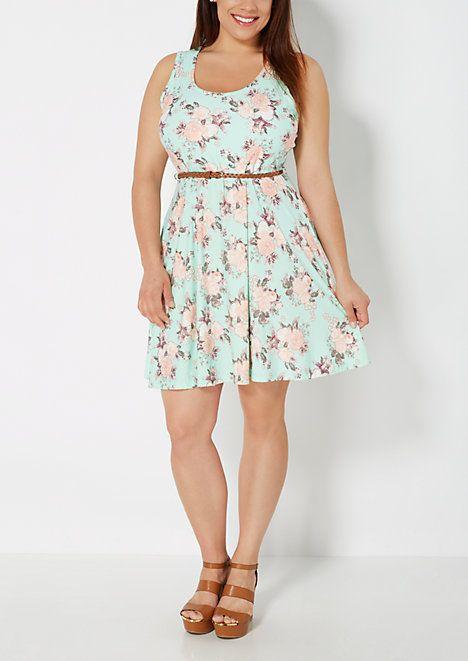 4ac3603f0a Plus Mint Rose Brushed Skater Dress