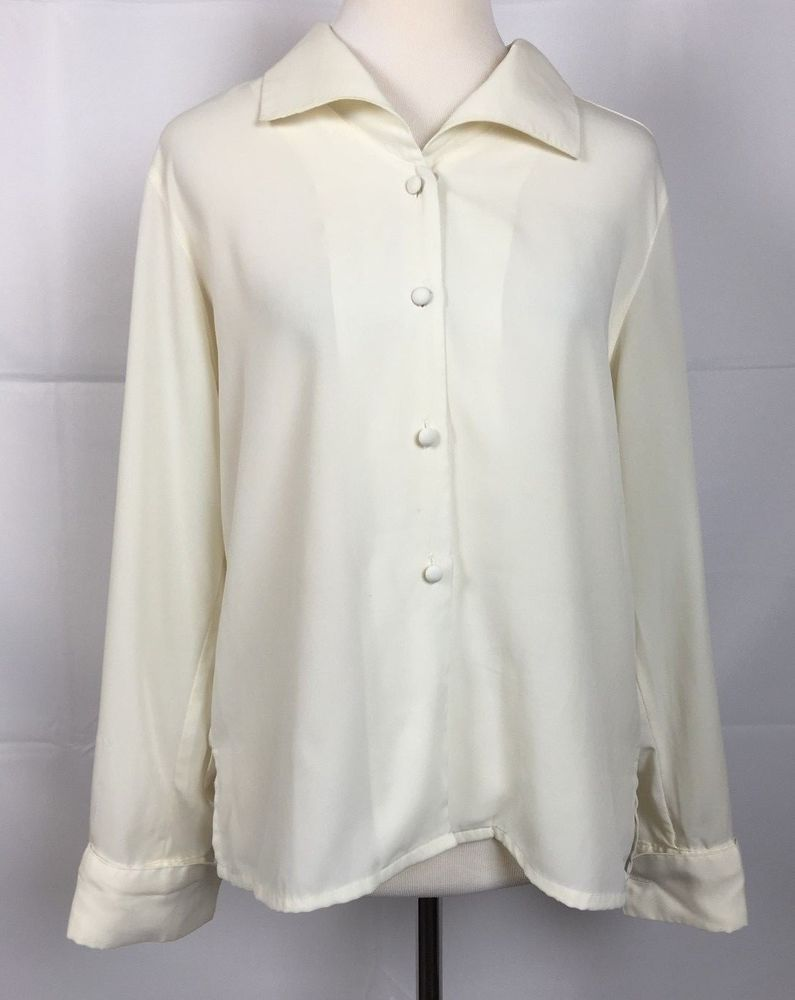 94b0ff292f7356 Worthington Button Down Shirt Women 6 Ivory Long Sleeve Polyester  #Worthington #Blouse #EveningPartyCareer