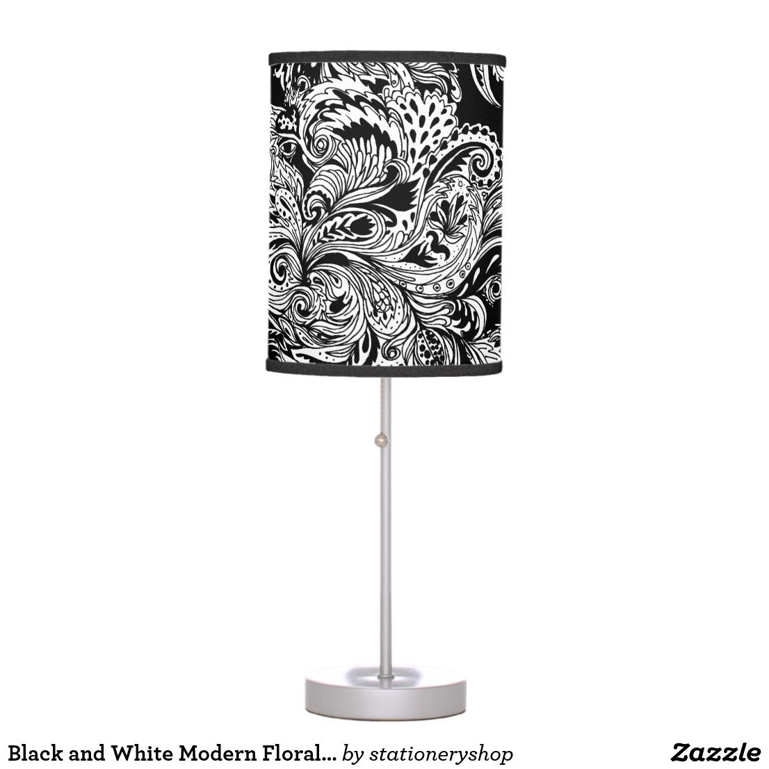 Black And White Modern Floral Paisley Pattern Table Lamp Zazzle Com Modern Floral Lamp Table Lamp
