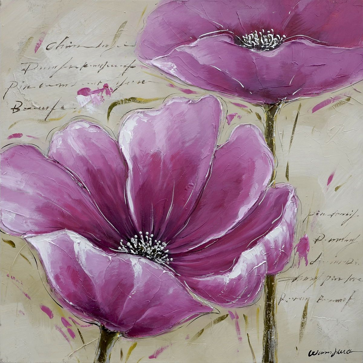 Tableau Peinture Sur Toile Fleur Epopee Florale 1 30x30cm Picture