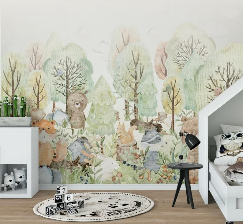 Woodland Wallpaper For Children With Animals Forest Wallpaper Wall Mural Nursery Wallpaper Forest Mural Woodland Wallpaper Kids Room Murals Nursery Mural