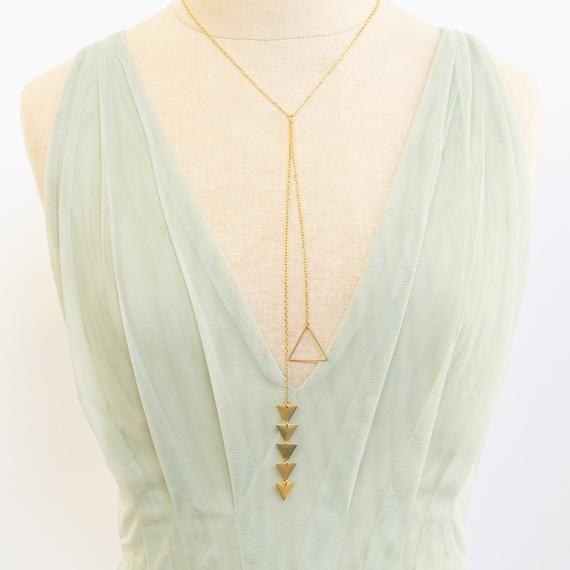 Photo of Lariat Halskette, Gold Lariat Halskette, Dreieck Halskette, geometrische Halskette, geschichteten Halskette, Choker Halskette, lange Halskette, Geschenk für Sie