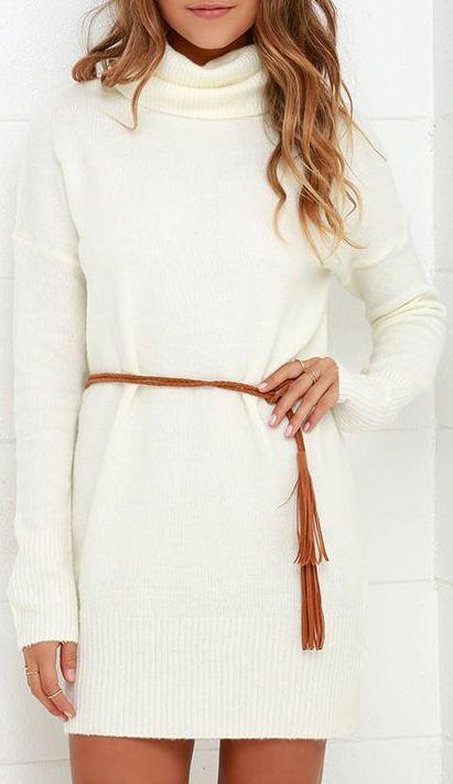 Flash A Smile Cream Turtleneck Sweater Dress Dream Closet