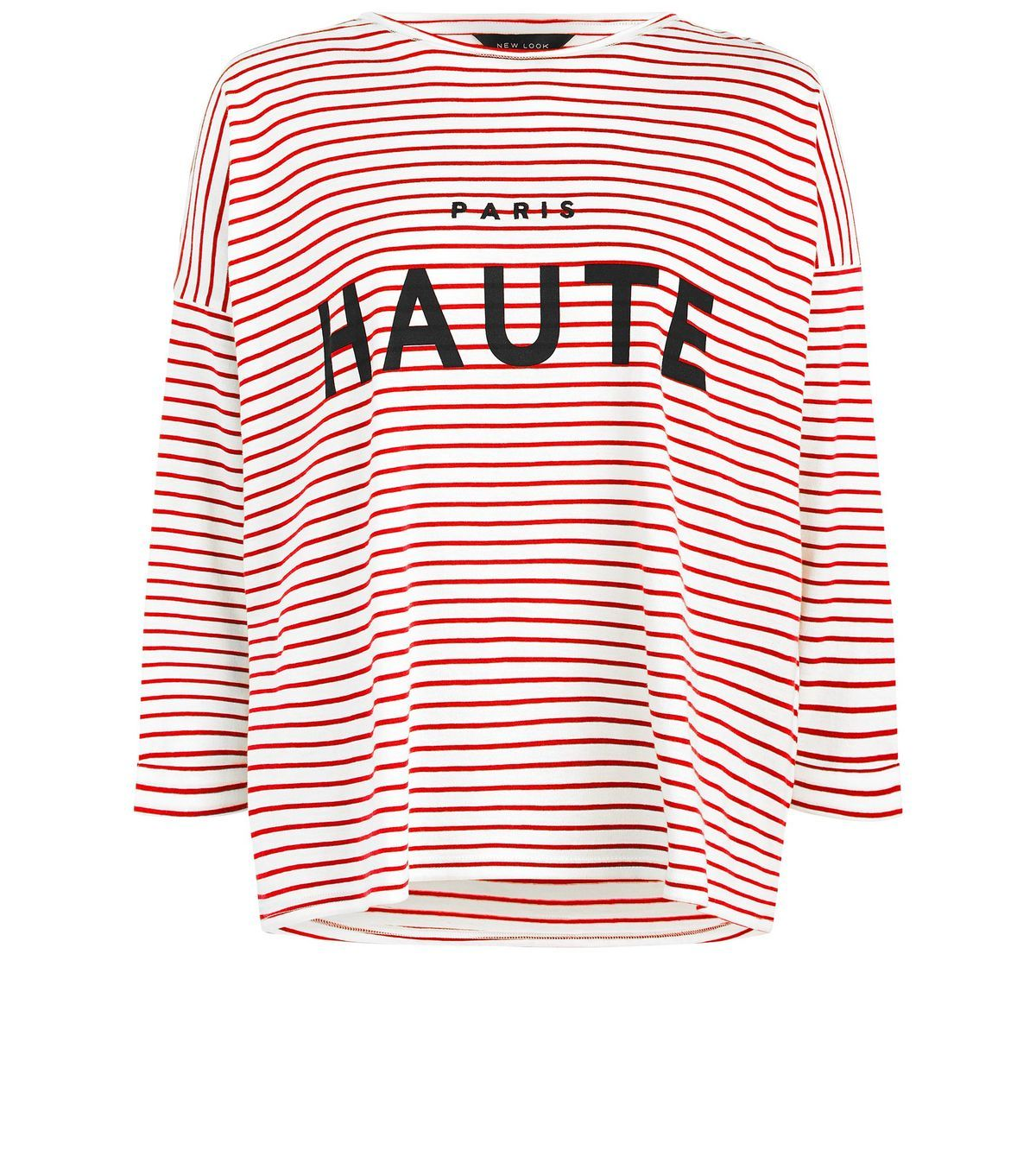 """Introduce chic style to your everyday wardrobe this season with this stripe print top. Team with skinny jeans and loafers to finish.- Rounded neckline- 3/4 sleeves- All over stripe print- 'Paris Haute' embroidered front- Soft cotton finish- Casual fit that is true to size- Margaux is 5'8.5""""/174cm and wears UK 10/EU 38/US 6"""