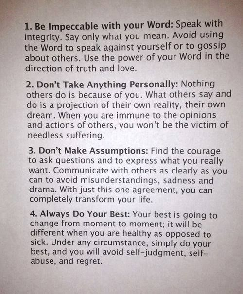 This Is An Excerpt From The Book The Four Agreements By Don Miguel