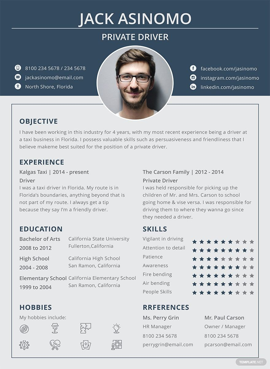 Free driver resume in 2020 creative resume template free
