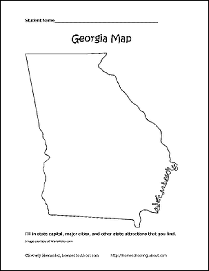 Learn About Georgia With A Free Printable Set Georgia Map Georgia Free Preschool Printables