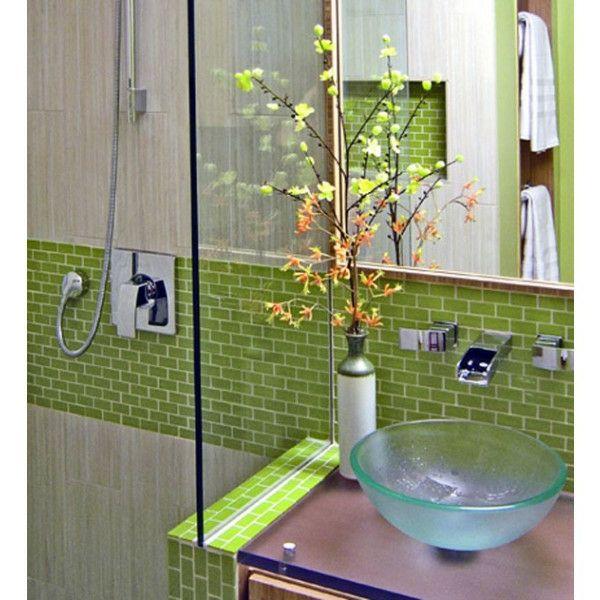 Spiegel Glas Waschbecken Grün Fliesen Badezimmer