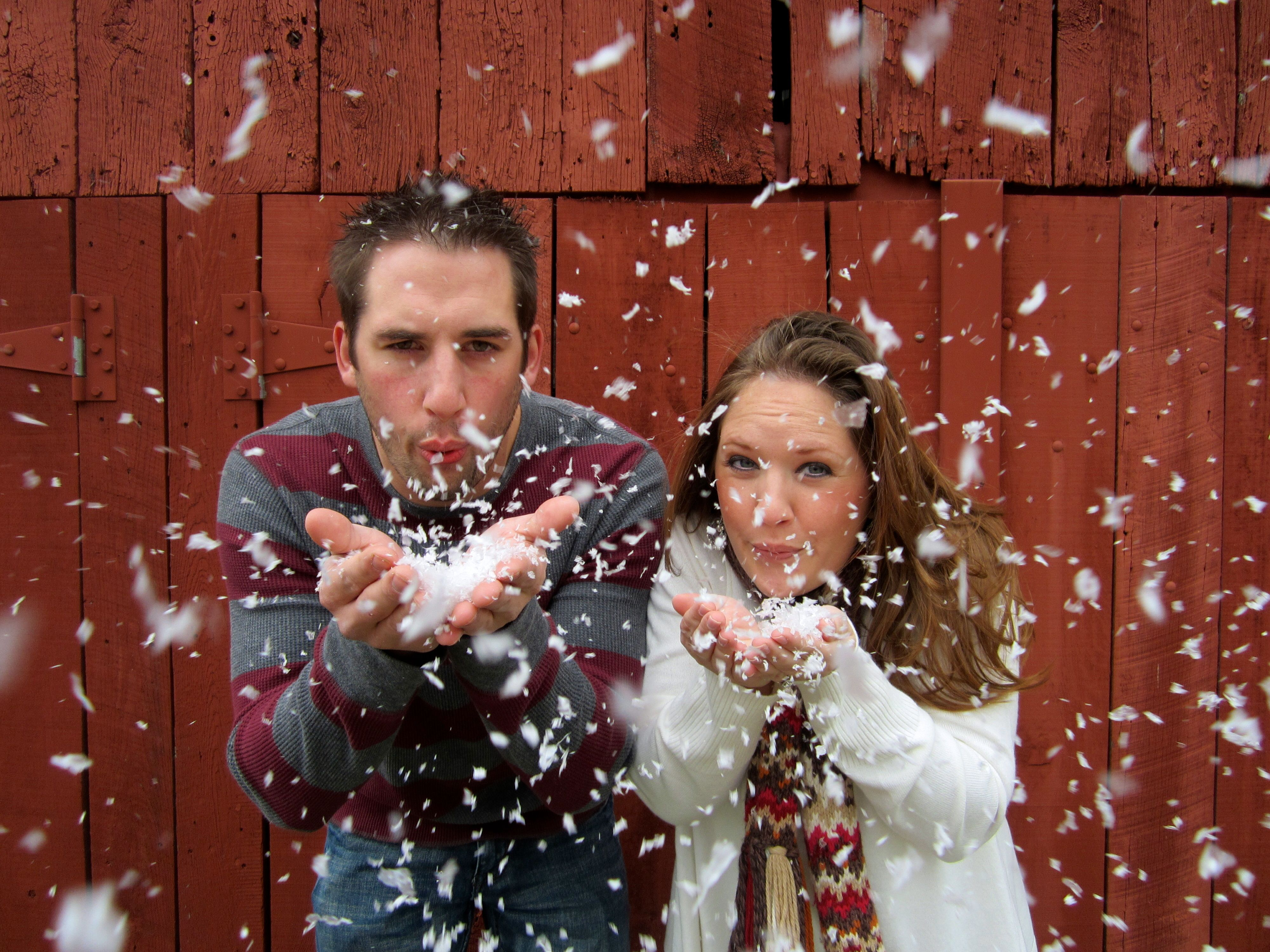 Christmas Card Picture Idea Just A Bag Of Fake Snow