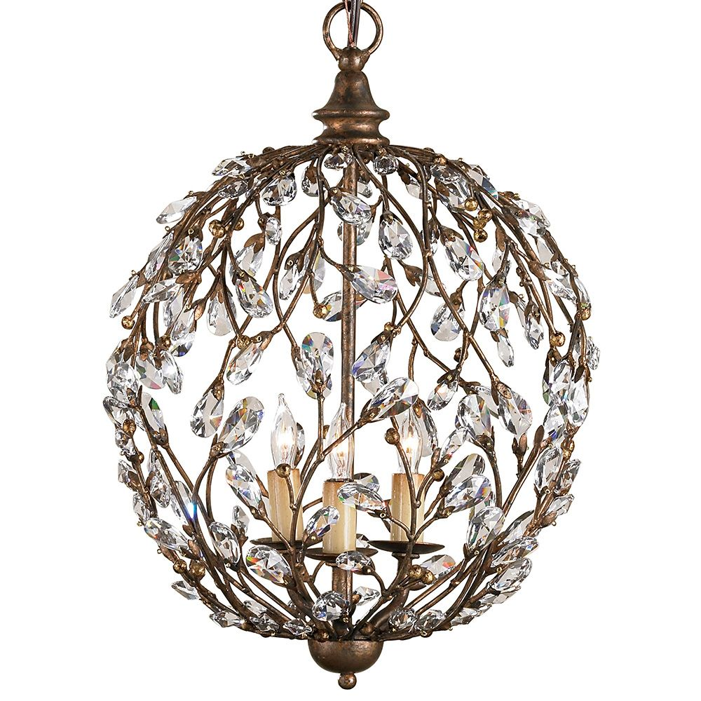 Currey And Company 9652 Crystal Bud Sphere Chandelier Cupertino Finish With Accents