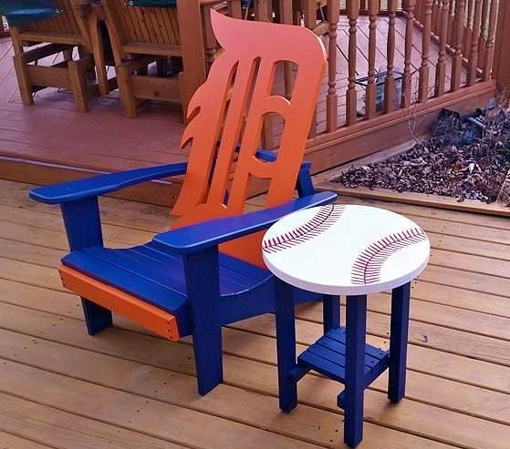 Detroit Tiger Adirondack Chair With Baseball Table. Pick Up Only From Monroe,  MI.