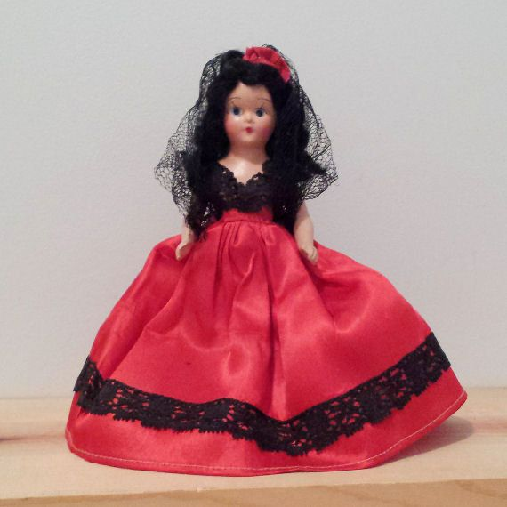 Vintage Composition Doll in a Red and Black Spanish ethnic Dress, Doll of the World, vintage character doll #spanishdolls
