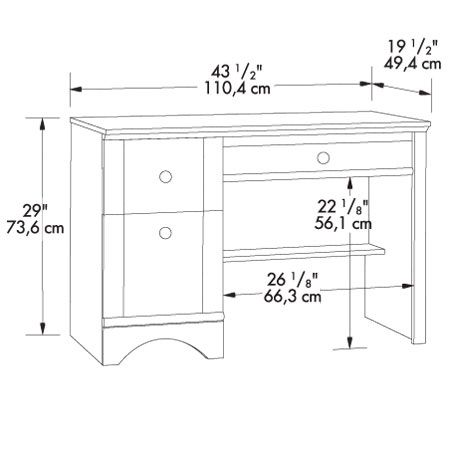 Standard Dimensions For Shelves Bayside Single Pedestal Computer Desk Dimensions Desk Dimensions Computer Desk Small Computer Table