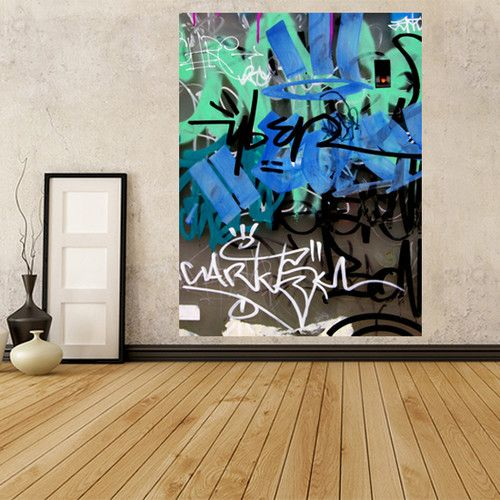 GWM14 SELF ADHESIVE WALLPAPER MURAL LAYERS OF GRAFFITI ON URBAN WALL DECAL