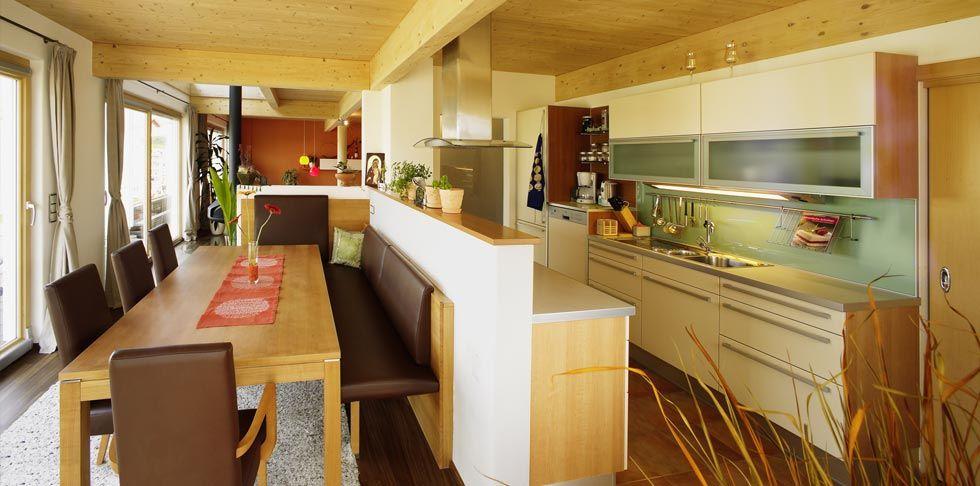 Fertighaus mit Pultdach - 10 Haus und Wohnideen von Griffner - offene kuche mit wohnzimmer