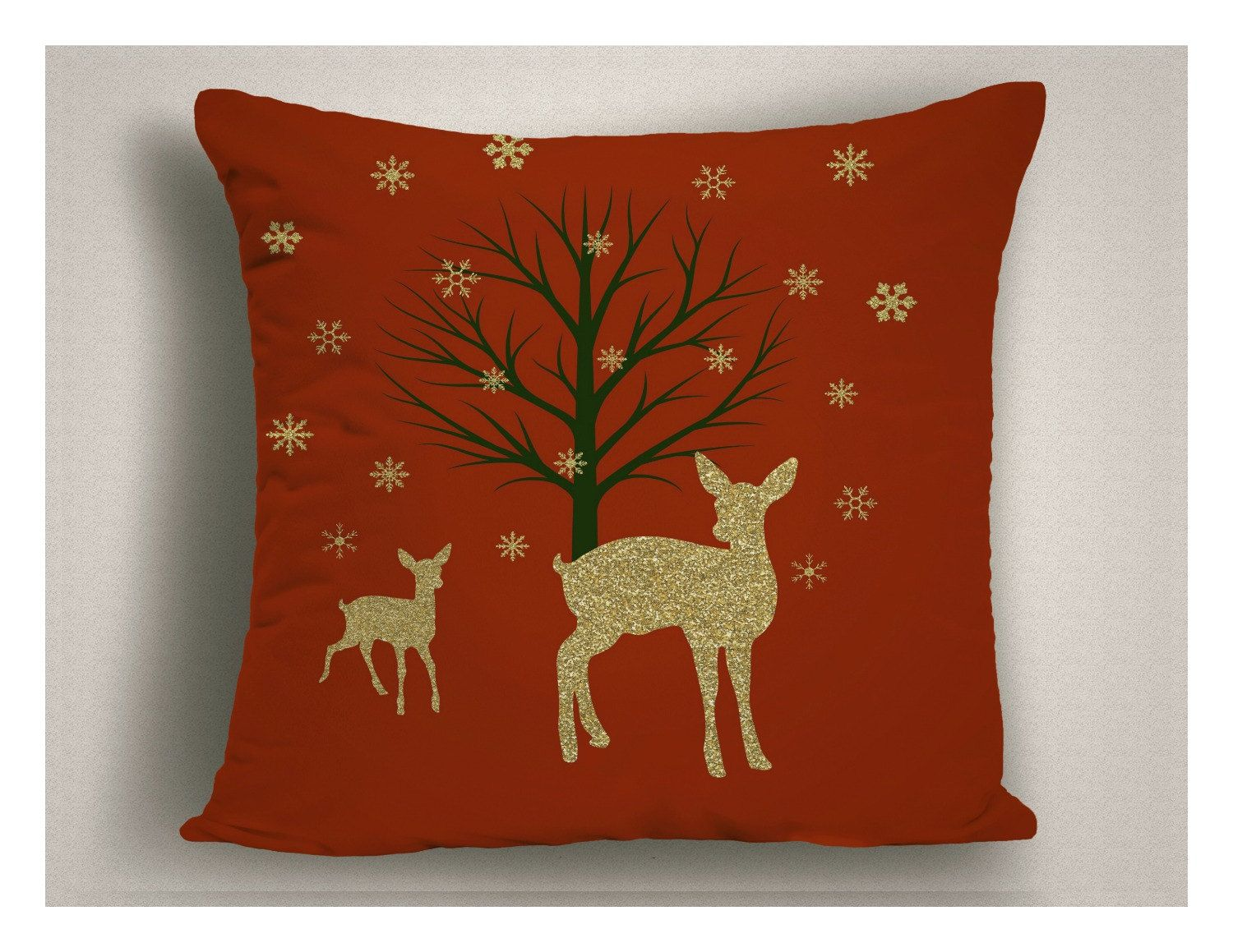 christmas decorations with reindeer and snow holiday pillows in red and gold unique holiday pillows christmas throw pillow covers