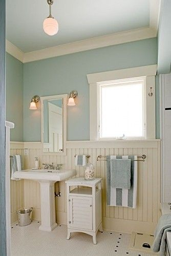 Cream White Blue Bathroom Maybe After Josh Goes Off To Bootcamp