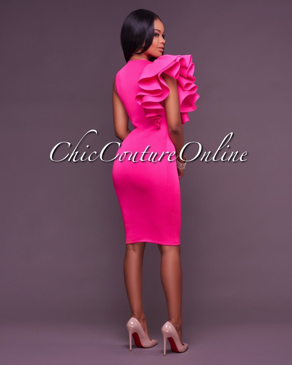 Sunset Fuchsia One Ruffle Sleeve Dress | Moda africana, Africanos y ...