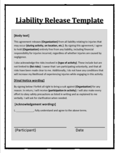 Liability Release Template Word Excel Pdf Templates Liability Waiver Templates Printable Free Legal Forms