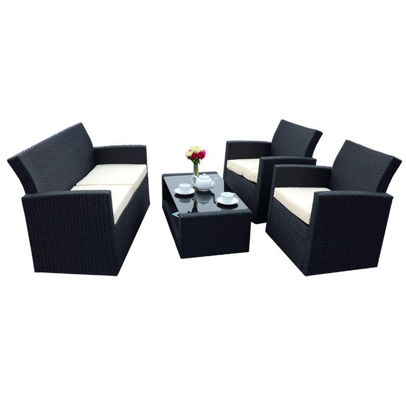 4 Piece Tuscany, black poly-rattan sofa set. With 2 armchairs, sofa ...