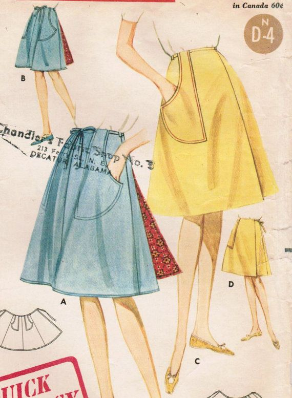 1960s Butterick 2643 Vintage Sewing Pattern Misses Flared Wrap Skirt ...