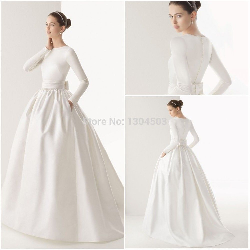2015 boat neck muslim wedding dress long sleeve sash bow for Long wedding dresses with sleeves