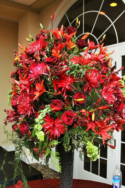 wedding flowers large floral arrangement at entry of wedding