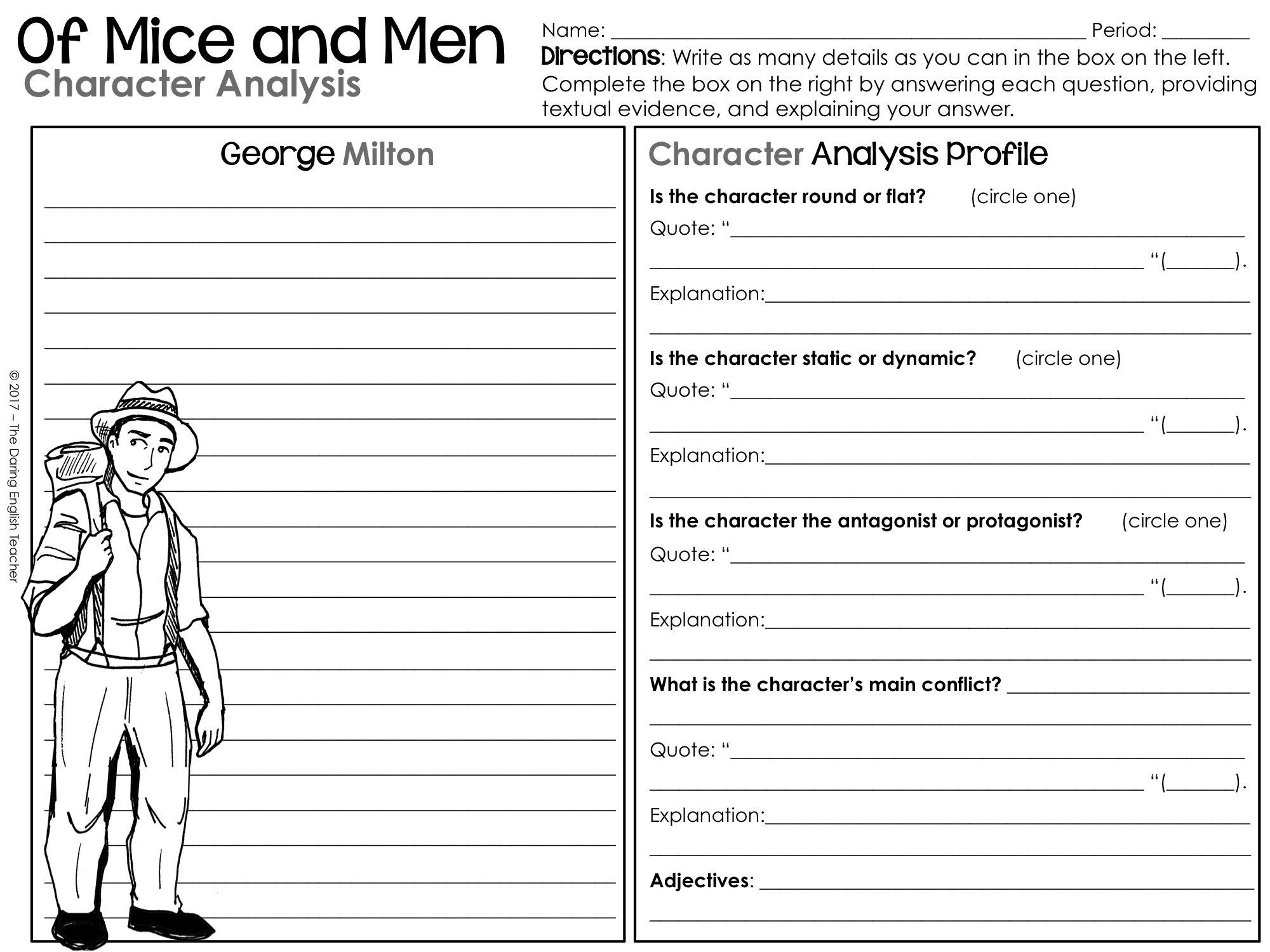 Of Mice And Men Characterysis Graphic Organizers