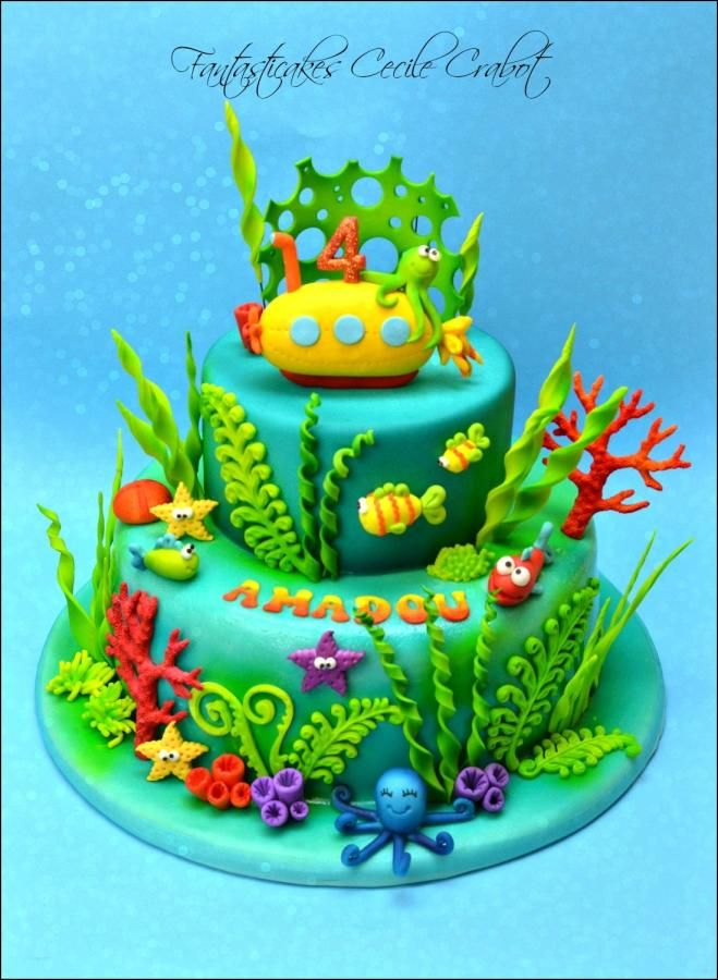 Magnificent Under The Sea And Submarine Sea Cakes Ocean Birthday Cakes Personalised Birthday Cards Sponlily Jamesorg