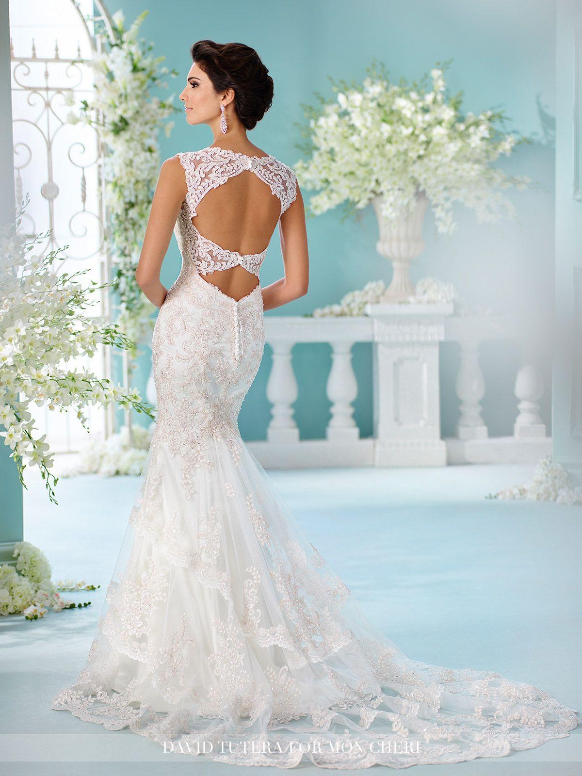 Keyhole Back Satin Fit & Flare with Lace Wedding Dress- 216246 ...