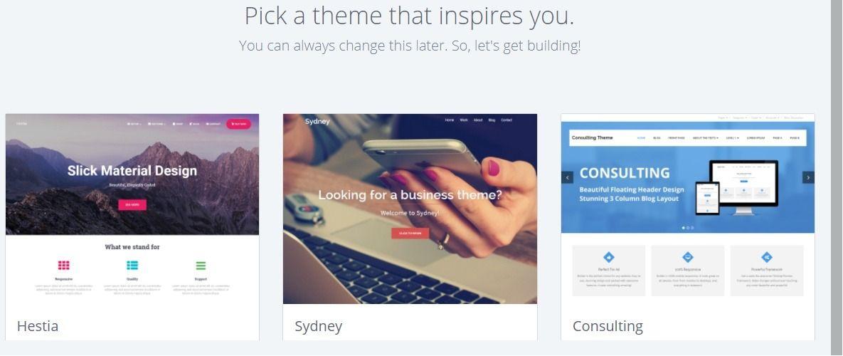 Bluehost WordPress select theme Website hosting