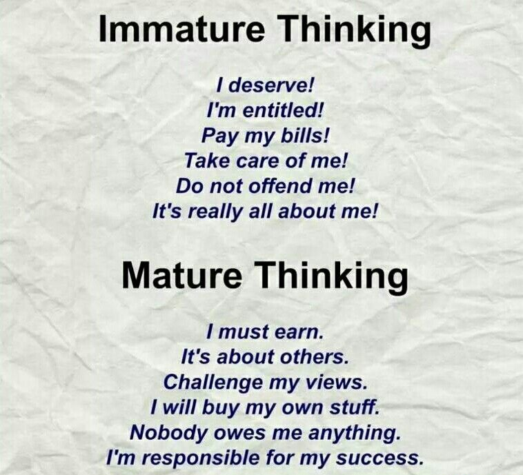 Immaturity vs maturity and the striking difference showing