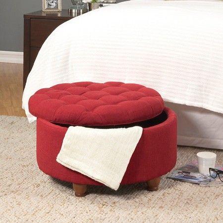 Cool Tufted Round Cocktail Storage Ottoman Red Homepop Machost Co Dining Chair Design Ideas Machostcouk
