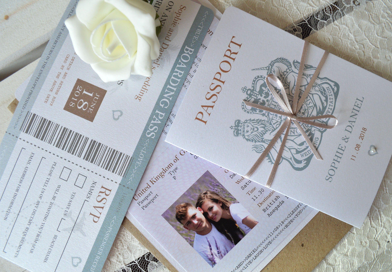 Wrap Bow Passport Wedding Invitation and Boarding Pass