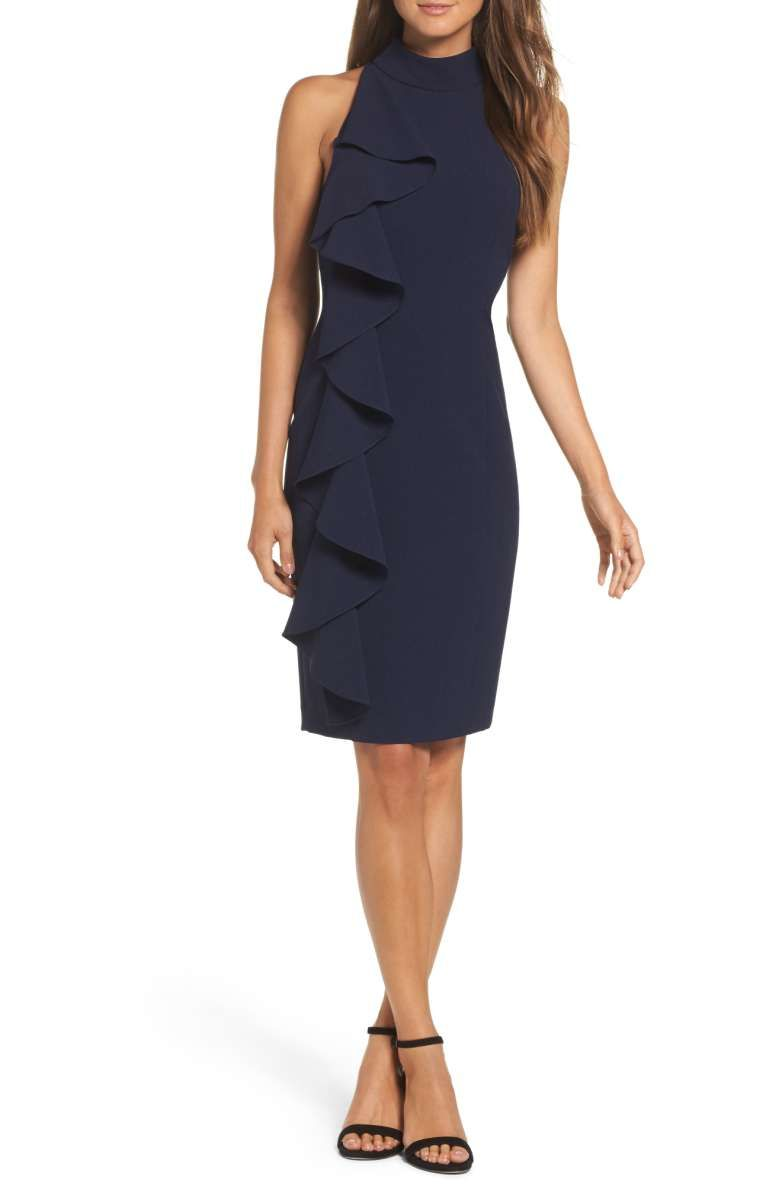 Sheath dresses for wedding guest  Ruffle Sheath Dresses On Trend For Fall Wedding Guests  Fall