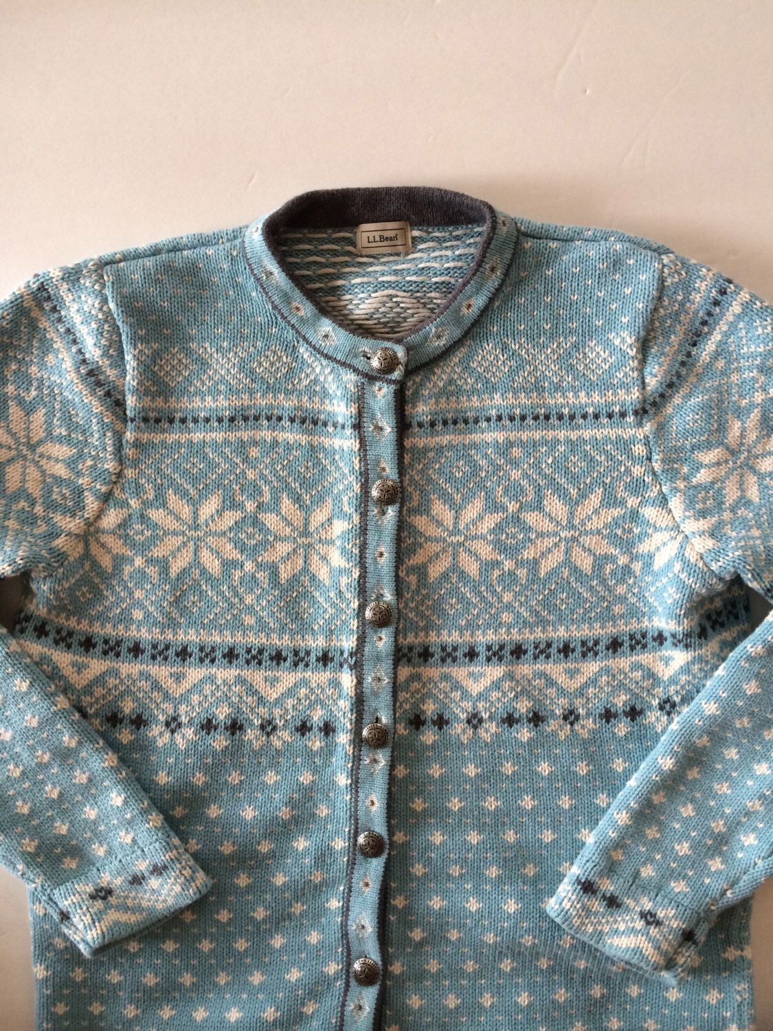 Vintage Scandinavian Sweater / Icy Blue and White Nordic Pattern ...
