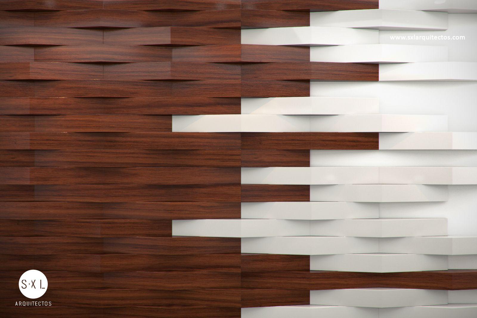 Detalle en muro con paneles de madera recepci n oficinas Muros de madera